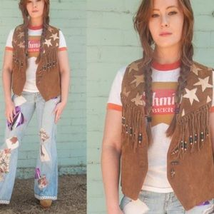 BB Dakota Vintage Hand Painted Fringe Leather Vest